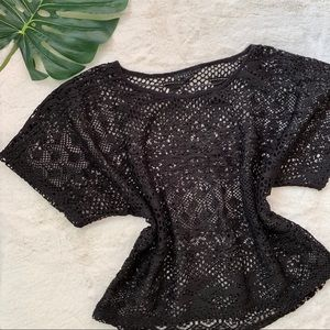Zara Black Crochet Lace Batwing Dolman Top M
